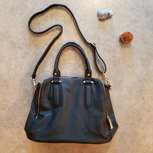 Violet Ray Black Leather Crossbody/Handbag